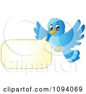 Clipart Blue Bird Flying And Talking Royalty Free Vector Illustration