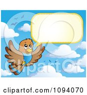 Clipart Brown Bird Flying And Talking In The Sky Royalty Free Vector Illustration