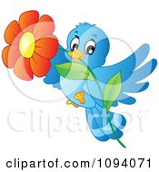 Clipart Blue Bird Flying With A Red Daisy Royalty Free Vector Illustration