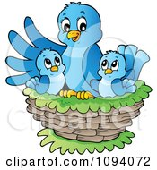Clipart Blue Bird And Chicks In A Nest Royalty Free Vector Illustration by visekart
