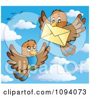 Clipart Brown Birds Exchanging A Letter Envelope Royalty Free Vector Illustration by visekart