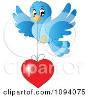 Clipart Blue Bird Flying With A Red Heart Royalty Free Vector Illustration