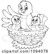 Clipart Outlined Bird And Chicks In A Nest Royalty Free Vector Illustration by visekart