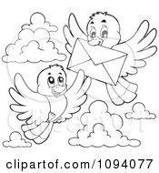 Clipart Outlined Birds Exchanging A Letter Envelope Royalty Free Vector Illustration by visekart