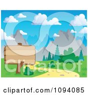 Clipart Wood Sign By A Nature Trail And Summer Mountain Landscape Royalty Free Vector Illustration by visekart