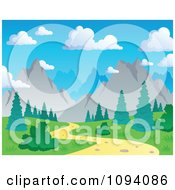 Clipart Nature Trail And Summer Mountain Landscape Royalty Free Vector Illustration