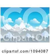 Clipart Background Of Snow Capped Mountain Peaks Royalty Free Vector Illustration