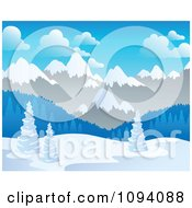 Clipart Winter Landscape Of Snow And Mountains Royalty Free Vector Illustration