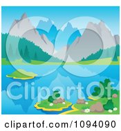 Clipart Summer Mountain Landscape With A Still Lake Royalty Free Vector Illustration