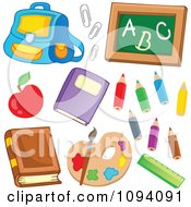 Clipart School Back Pack Paperclips Chalkboard Apple Books Colored Pencils Paints And Ruler Royalty Free Vector Illustration by visekart