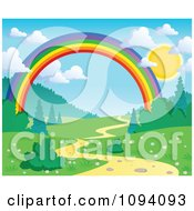 Clipart Full Sun With Puffy Clouds Over A Spring Landscape With A Rainbow And Path Royalty Free Vector Illustration