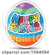 Clipart Colorful Happy Easter Greeting On An Egg Royalty Free Vector Illustration