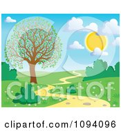 Clipart Full Sun With Puffy Clouds Over A Spring Landscape With A Blossoming Tree And Path Royalty Free Vector Illustration