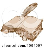 Clipart Antique Quill Pen And Open Book Royalty Free Vector Illustration