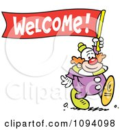 Clipart Clown Carrying A Welcome Banner Royalty Free Vector Illustration by Johnny Sajem