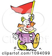 Clipart Clown Carrying A Red Pennant Flag Royalty Free Vector Illustration by Johnny Sajem