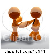 Poster, Art Print Of Two Orange Businessmen Shaking Hands On A Business Deal