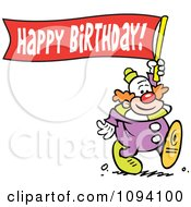 Clipart Clown Carrying A Happy Birthday Banner Royalty Free Vector Illustration by Johnny Sajem