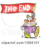 Clipart Clown Carrying A The End Banner Royalty Free Vector Illustration by Johnny Sajem