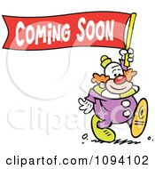 Clipart Clown Carrying A Coming Soon Banner Royalty Free Vector Illustration by Johnny Sajem