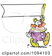 Clipart Clown Carrying A Blank Banner Royalty Free Vector Illustration