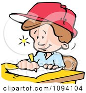 Clipart Creative Boy Writing Down Ideas Royalty Free Vector Illustration