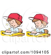 Clipart Creative Blond Boys Writing Down Ideas Royalty Free Vector Illustration by Johnny Sajem