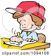 Clipart School Boy Writing An Essay Royalty Free Vector Illustration by Johnny Sajem