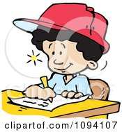 Clipart Creative School Boy Writing Down Ideas Royalty Free Vector Illustration by Johnny Sajem
