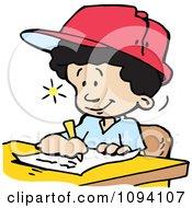 Creative School Boy Writing Down Ideas