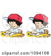 Clipart Creative Boys Writing Down Ideas Royalty Free Vector Illustration