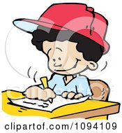 Clipart Happy Boy Writing Royalty Free Vector Illustration by Johnny Sajem
