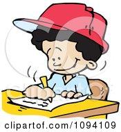 Clipart Happy Boy Writing Royalty Free Vector Illustration
