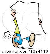 Clipart Man Carrying A Blank Sign Royalty Free Vector Illustration