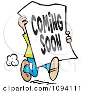 Clipart Man Carrying A Coming Soon Sign Royalty Free Vector Illustration