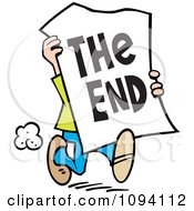 Clipart Man Carrying A The End Sign Royalty Free Vector Illustration