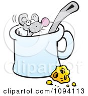 Clipart Mouse In A Mug By Cheese Royalty Free Vector Illustration by Johnny Sajem