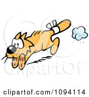 Clipart Orange Cat Running With A Bandaged Tail Royalty Free Vector Illustration