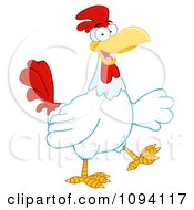 Clipart Happy Rooster Walking Royalty Free Vector Illustration by Hit Toon
