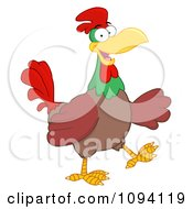 Clipart Happy Brown Rooster Walking Royalty Free Vector Illustration by Hit Toon