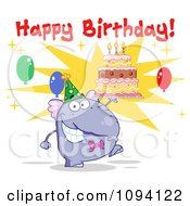 Clipart Purple Party Elephant Holding A Cake Under Happy Birthday Text Royalty Free Vector Illustration