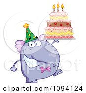 Purple Party Elephant Holding A Birthday Cake