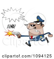 Clipart Male African American Police Officer Running With A Gun Royalty Free Vector Illustration