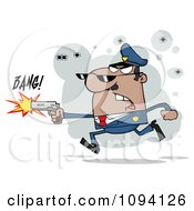 Clipart Male Black Police Officer Shooting A Gun Royalty Free Vector Illustration