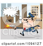 Clipart Male Police Officer Shouting Shooting And Running Through A City Royalty Free Vector Illustration