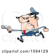 Clipart Male Caucasian Police Officer Running With A Gun Royalty Free Vector Illustration by Hit Toon