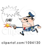 Clipart Male Caucasian Police Officer Shouting And Shooting A Gun Royalty Free Vector Illustration