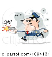 Clipart Male Caucasian Police Officer Shooting A Gun Royalty Free Vector Illustration