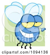 Clipart Grinning Blue Fly Royalty Free Vector Illustration by Hit Toon