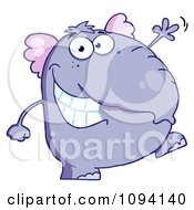 Clipart Happy Purple Elephant Walking Upright And Waving Royalty Free Vector Illustration